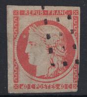 RARE VARIETE De 4 RETOUCHE Sur N° 5 40C ORANGE (COTE 7000€ - CERTIFICAT) OBL. GROS POINTS / VERSO SANS AMINCI - 1849-1850 Cérès