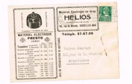 """""""Matériel électrique Presto,rue De Mérode,Bruxelles"""" Sur Carte Expédiée à Erquelinnes. - 1932 Cérès Et Mercure"""