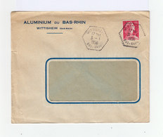 Sur Env. Aluminium Du Bas Rhin Marianne De Muller CAD Wittisheim 1956 Hexagonal. (1029x) - Marcophilie (Lettres)