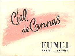 - Ref CH357- Parfumerie -carte Parfumée -7,5cms X 5,5cms -parfum Ciel De Cannes - Funel  - Paris - Cannes - Cartes Parfumées