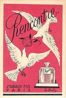 - Ref CH356- Parfumerie -carte Parfumée -7,5cms X 5cms -parfum Rencontre - Jn Giraud Fils Paris - Carte Bon Etat - - Cartes Parfumées