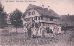 Gruss Vom Feld Bei Guggisberg, Villa Zbinden, Famille Devant La Maison (946) - BE Berne