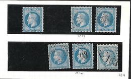 France Classiques  Avril 1867 Et Août 68 Cat Yt 29 A  Et B  Oblitérations Petits   03 ,  153 , 656   ( Peu Fréquentes ) - 1863-1870 Napoleon III With Laurels