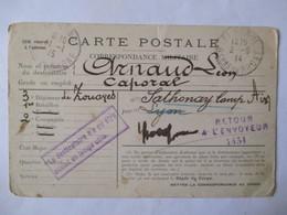 Carte Postale Correspondance Militaire - Arnaud Léon 3 ème Régiment De Zouaves - SATHONAY  1914 - Voir Annonce - 1914-18