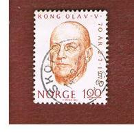 NORVEGIA  (NORWAY)    SG 702  -   1973  KING OLAV' S 70^ BIRTHDAY    -   USED ° - Norvegia
