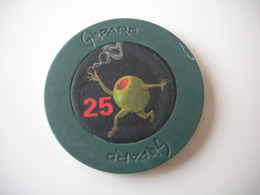 Poker Chip 25 $ CGTV Michael Godard Olive - Elongated Coins