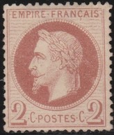 France     .   Yvert   .    26      .    (*)       .    Pas De Gomme     .   /  .     No Gum - 1863-1870 Napoleon III With Laurels