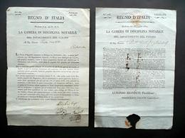 Regno D'italia Camera Di Disciplina Notarile Due Circolari 1808-12 Napoleonica - Non Classificati