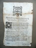 Modulo Tonsura Ordini Minori Paulus Coccapanus Vescovo 1649 Religione - Non Classificati