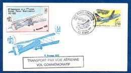 Enveloppe Premier Jour  /80ème Anniversaire / Aéropostale / Nancy - Lunéville / 12-11-92 - FDC
