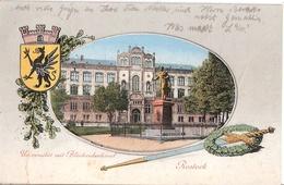 ROSTOCK Color Wappen GREIF Universität Blücher Denkmal Schwert Lorbeerkranz 18.4.1916 Gelaufen - Rostock