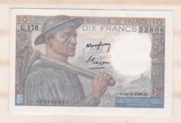 10 Francs Mineur 10 3 1949 Alphabet U.176 N° 53806, Billet Neuf - 10 F 1941-1949 ''Mineur''