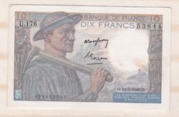 10 Francs Mineur 10 3 1949 Alphabet U.176 N° 53844, Billet P/Neuf - 10 F 1941-1949 ''Mineur''