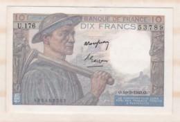 10 Francs Mineur 10 3 1949 Alphabet U.176 N° 53789, Billet Neuf - 10 F 1941-1949 ''Mineur''
