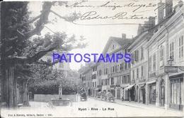 106446 SWITZERLAND NYON RIVE THE STREET BREAK CIRCULATED TO ARGENTINA POSTAL POSTCARD - Switzerland