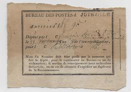 AN 8 (1799) - RECU De DEPOT D'ARTICLE Du DEPOT De JOINVILLE (HAUTE MARNE) - Marcophilie (Lettres)
