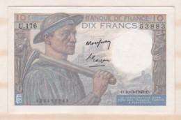 10 Francs Mineur 10 3 1949 Alphabet U.176 N° 53883, Billet Neuf - 10 F 1941-1949 ''Mineur''