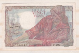 20 Francs Pécheur 10 3 1949 Alphabet P.202 N° 36846 Superbe - 1871-1952 Anciens Francs Circulés Au XXème