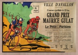 Cycle Grand Prix Postcard Ville D'Avallon Maurice Gulat 1942 - Reproduction - Publicité