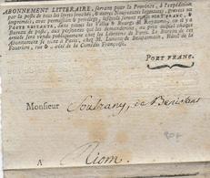 """17° - LETTRE PORT FRANC """"ABONNEMENT LITTERAIRE"""" De PARIS => RIOM (PUY DE DOME) - Marcophilie (Lettres)"""