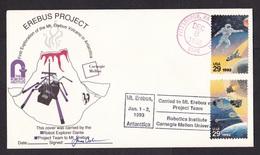 USA: Commemorative Cover, 1992, 2 Stamps, Erebus Volcano Antarctica, Robotics, Robot (minor Discolouring At Back) - Verenigde Staten
