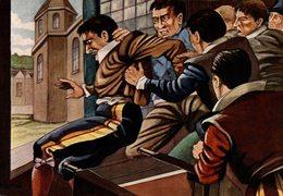 CHROMO  ENCYCLORAMA  LA VIE DE NOS ANCETRES  LA DEFENESTRATION DE PRAGUE - Trade Cards