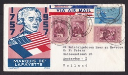 USA: Airmail Cover To Netherlands, 1957, 4 Stamps, Lafayette, Flags, Air Force, Airplane, Label (discolouring At Back) - Verenigde Staten