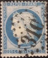 FRANCE Y&T N°60C Cérès 25c Bleu. Oblitéré Losange GC. N°310 - 1871-1875 Cérès