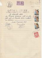 Lecce. 1957 Marca Municipale Diritti Di Segreteria L. 20, Su Certificato Di Cittadinanza. - Andere
