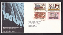 USA: Cover To Switzerland, 1973, 4 Stamps, Electronics, Radio, Technology, Advertisment Western Union (traces Of Use) - Verenigde Staten