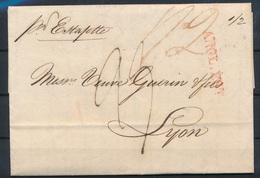 CI-82: GB: Lettre Du 22/11/1833 ANG.ECT (rouge) Pli Par Estafette Pour Lyon (taxe 23) - Marcofilie