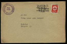 3. Reich : DR Dienstpost Briefumschlag : Gebraucht Mit Werbestempel Eisernes Kreuz Die Pflicht Tun Weimar - Gera 1939, - Deutschland