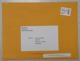 USA: Large Cover To Netherlands, 2018, ATM Machine Label, $ 5.10 Rate (traces Of Use) - Verenigde Staten
