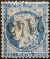 FRANCE Y&T N°60C Cérès 25c Bleu. Oblitéré Losange GC. N°2145 - 1871-1875 Cérès