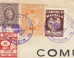 Marsala. 1966. Marche Municipali  Diritti Di Stato Civile L. 5 + L. 10 + Urgenza L. 20, Su Estratto Di Nascita - Italie