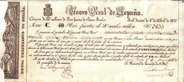 ESPAGNE - BILLET , CHARLES V - BILLETE CARLISTA 1837 N° 3833 - SMCD CARLOS V - TESORO REAL DE ESPAÑA , 50 PESOS FUERTES - Espagne