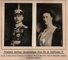 MARIAGE MORGANATIQUE FILS GUILLAUME II EMPEREUR PRINCE OSCAR DE PRUSSE PHOTO PRESSE FICHE ???? VERS 1910 ?? - Célébrités