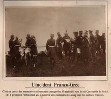INCIDENT FRANCO-GREC MANOEUVRES ARMEE ALLEMANDE ROI CONSTANTIN GRECE  PHOTO PRESSE FICHE ???? VERS 1910 ?? - Guerre, Militaire