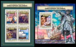 Sierra Leone 2016, Sailboats, Christopher Columbus, Klb + S/s MNH - Christoph Kolumbus