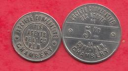 2 Jetons Chambéry(   PLM -1898) Dans L 'état - Monétaires / De Nécessité