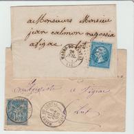 """CANTAL : """" MAURS DU CANTAL """" G.C 2281 + CàD 15 & CàD 18 / 2 LSC Entre 1864 & 1888 TB - Marcophilie (Lettres)"""