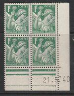 FRANCE N° 432 1F VERT TYPE IRIS COIN DATE DU 21.5.1940 NEUF SANS CHARNIERE - Coins Datés
