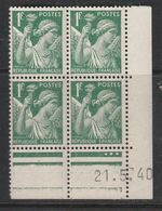 FRANCE N° 432 1F VERT TYPE IRIS COIN DATE DU 21.5.1940 NEUF SANS CHARNIERE - 1940-1949
