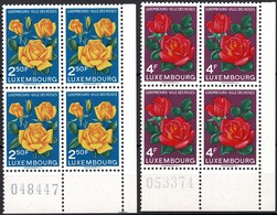 1956 Luxembourg Ville Des Roses, Neuf, Blocs à 4, Michel 2019: 549-550, 4F&2,50F. Valeur Catalogue: 32€ - Luxembourg