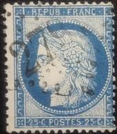 FRANCE Y&T N°60C Cérès 25c Bleu. Oblitéré Losange GC. N°2797 - 1871-1875 Cérès