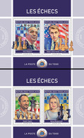 TOGO 2018 - Chess II, Kasparov, Fischer, 2 S/S. Official Issue. - Chess