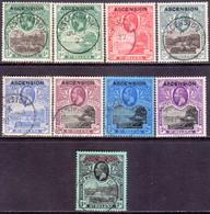ASCENSION 1922 SG #1-9 Compl.set Used CV £475 St.Helena Stamps Optd - Ascension