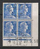 FRANCE N°1011B 20F BLEU TYPE MULLER COIN DATE DU 23.8.1958 OBL - Coins Datés