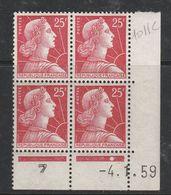 FRANCE N°1011C 25F ROUGE TYPE MULLER COIN DATE DU 4.1.1959 NEUF SANS CHARNIERE - Coins Datés