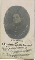 Décès Oscar GERARD, Soldat 1er Chasseurs à Pied, Né à VIESVILLE-SARTS Le 27-10-1893 Décédé à FURNES Le 26-1-1915 - 1914-18